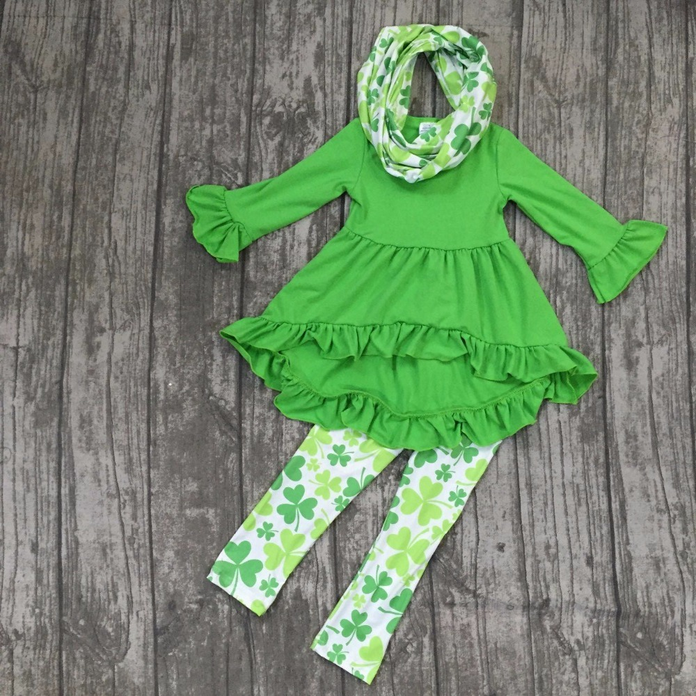 все цены на new arrival St.Patrick girls baby kids clothes green top pant new design hot sell cotton Shamrocks boutique 3 pieces scarf sets в интернете