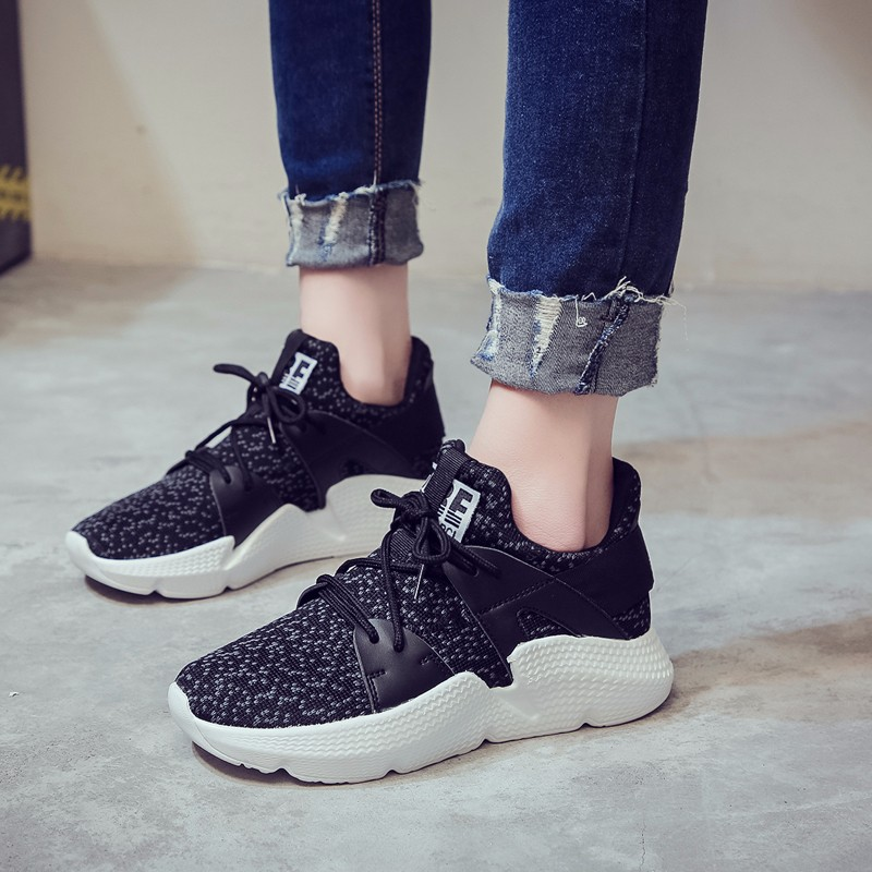 Moxxy Fashion Trainers Sneakers Women Lace Up Casual Shoes Air Mesh Grils Basket Femme Wedges Ladies Canvas Shoes zapatos mujer