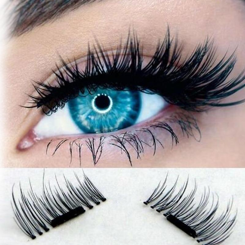 3D Magnetic False Fake Eyelashes Extension Eye Beauty Makeup Accessories Soft Hair False Eyelashes 4 Pcs/Pairs Dropshipping