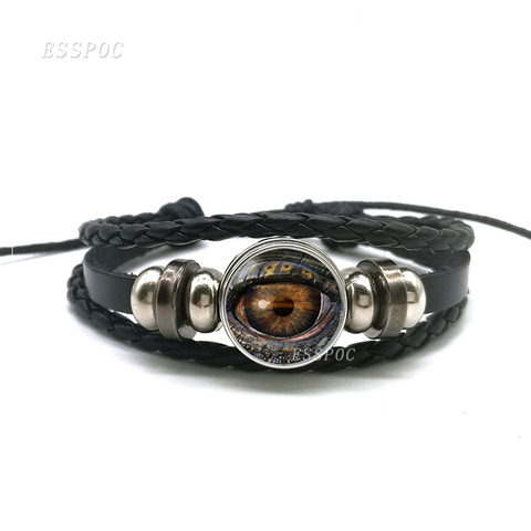Dragon Evil Eye Bracelet Men Punk Evil Eye Black Charm Leather Bracelet Fashion Jewelry Gifts For Men 2019 Hot Islamabad