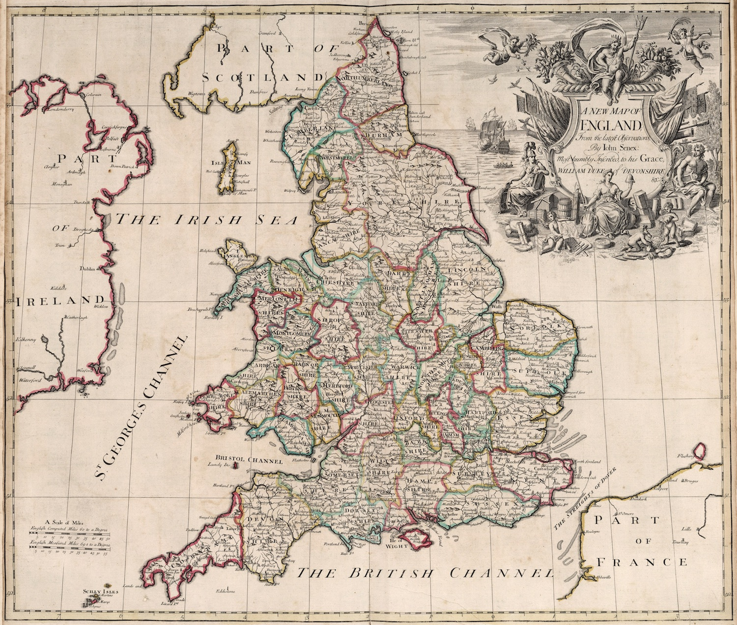 Vintage World Map Poster New Map of England (1721) Classic Canvas ...