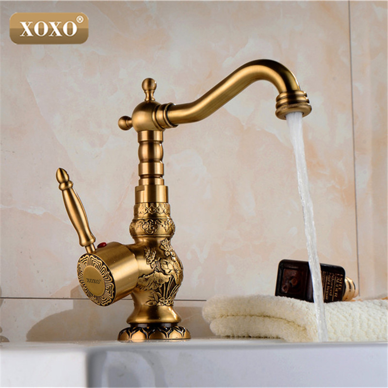 XOXOHigh quality Retro Vintage Antique Brass Bathroom Sink Basin Faucet Mixer Tap cold hot water 50031B