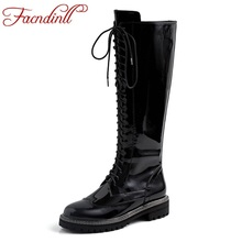 FACNDINLL new fashion patent leather women knee high boots square med heels black woman autumn winter warm riding boots shoes недорого