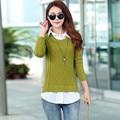 Осень женщины тонкий свитера 2017 Новых Корейской Версии Случайные Свободные Пуловер Поддельные Из Двух Воротник Рубашки Трикотаж Дна Свитер