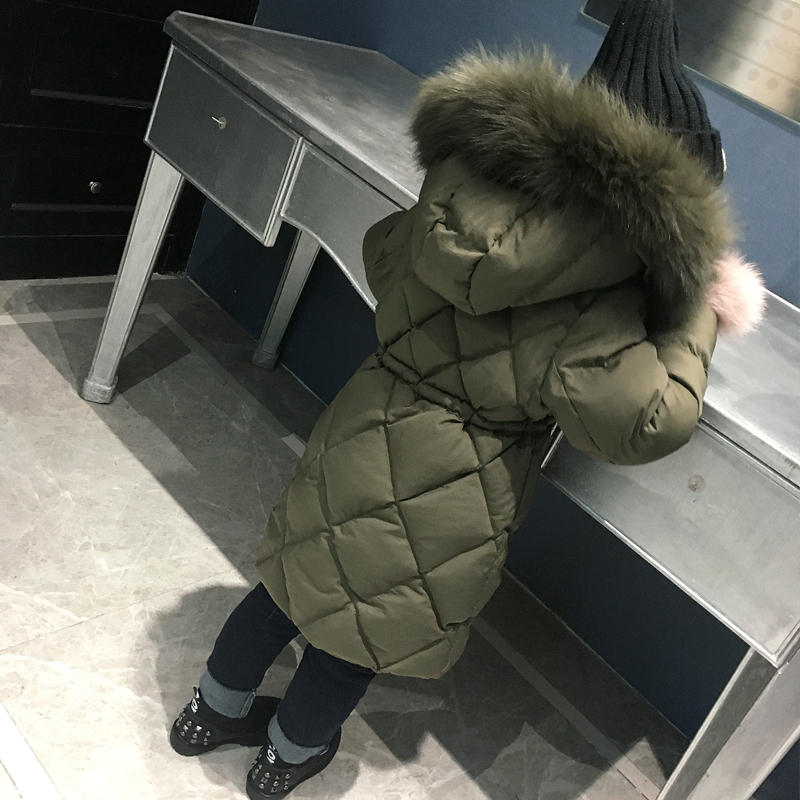 Big child girls long coat new winter clothes down padded coat thick
