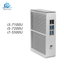 Fanless Core i5 7200U i3 7100U 4K Mini PC Windows 10 HDMI VGA WIFI USB DDR3L mini HTPC mini computer Linux TV box windows pc
