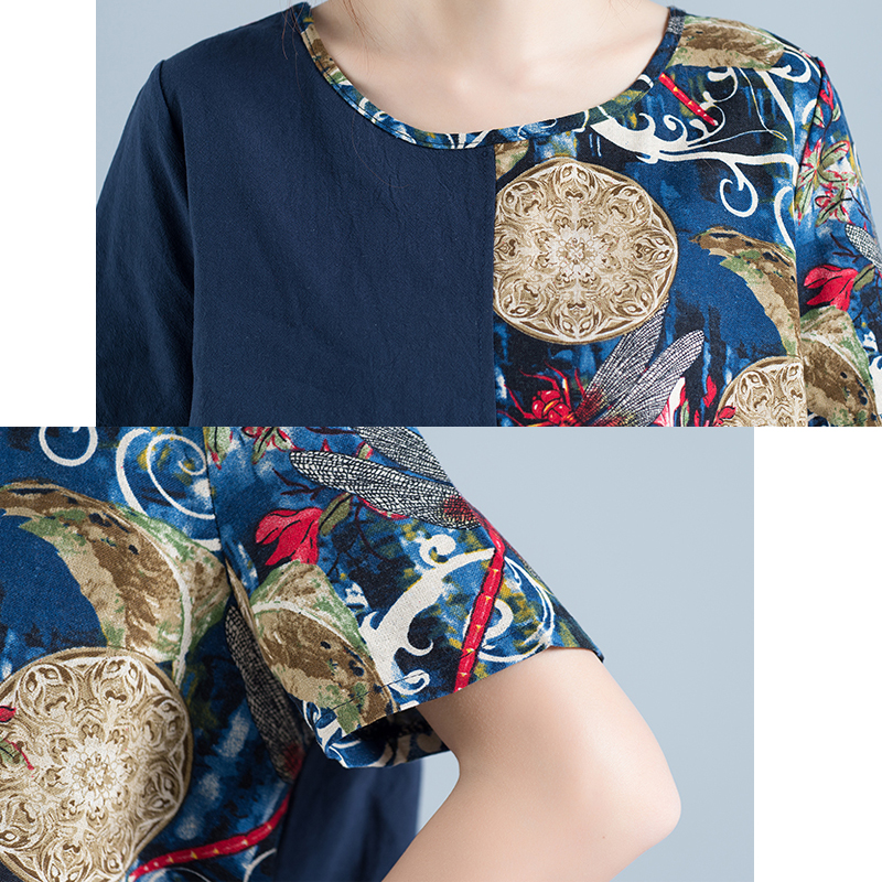 9f6a1b1514 Plus Size Short Sleeve Shirt Cotton Linen Women Tops 2017 Summer Printed High  Low Hem Ladies Blouse Large Womens Clothing MIRESS-in Blouses   Shirts from  ...