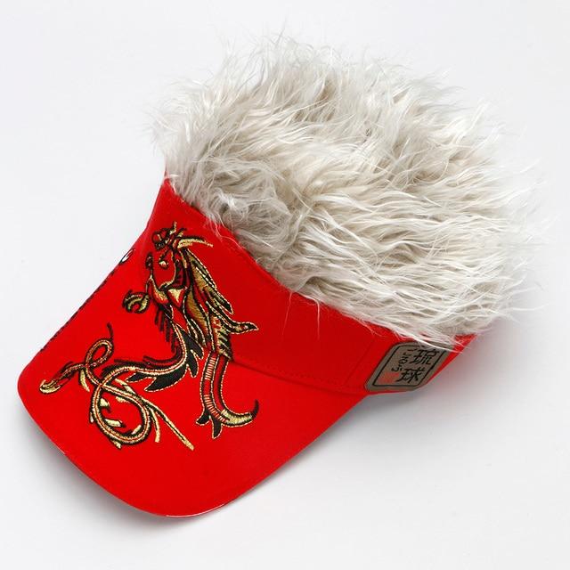 Men Women Golf cap   Outdoor Sports Fake Flair Hair 4 colors optional Sun Visor Hat free shipping