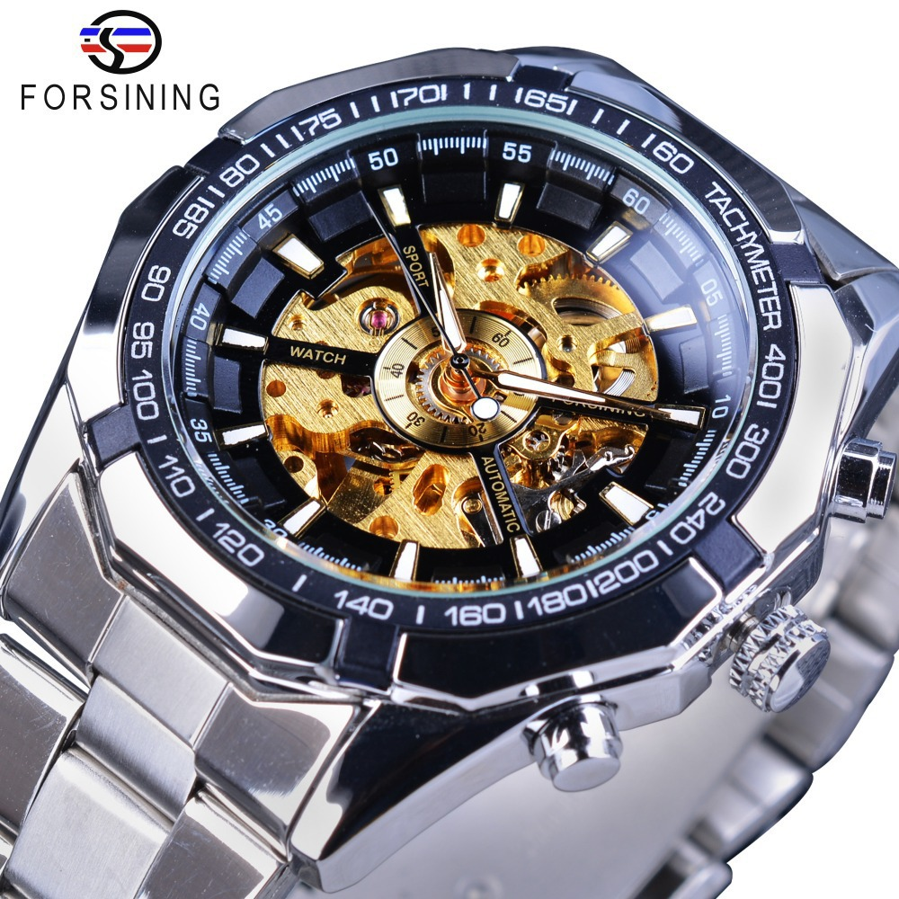 Fashion Forsining Brand Silver Stainless Steel Waterproof Men Skeleton Watchesluxury Gold Transparent Mechanical Man Wrist Watch