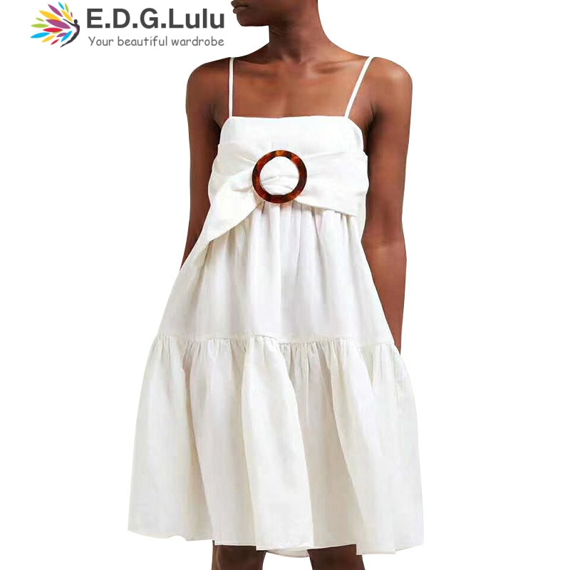 EDGLulu slip <font><b>dress</b></font> sexy club womens <font><b>dresses</b></font> new arrival 2019 summer runway mini white <font><b>dress</b></font> image