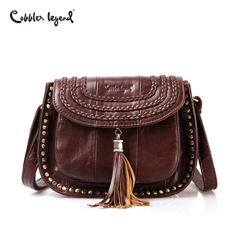 Cobbler Legend Tassel Women Messenger Bags Genuine Leather Women Designer Lady Handbags Small Bag Female Shoulder CrossBody Bag chispaulo women genuine leather handbags cowhide patent famous brands designer handbags high quality tote bag bolsa tassel c165
