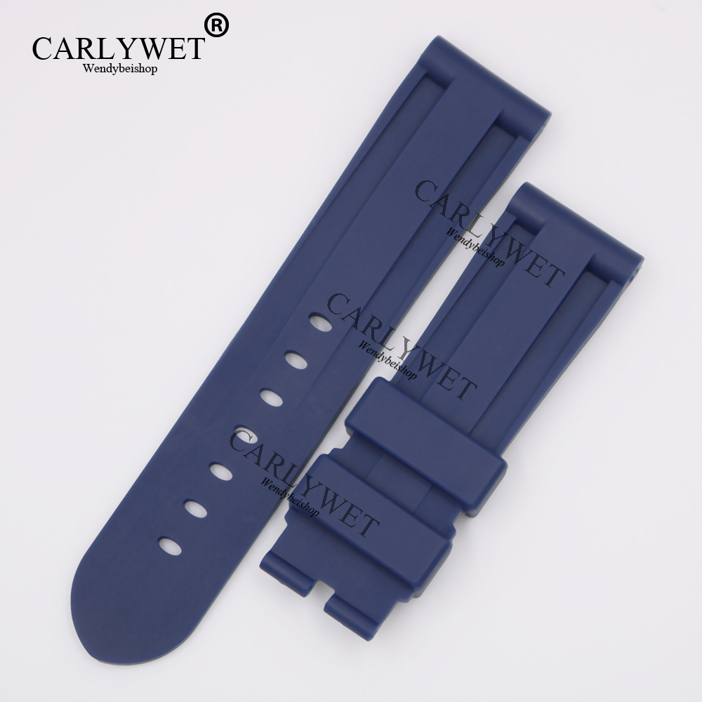 CARLYWET 24mm Wholesale Newest Dark Blue Waterproof Silicone Rubber Replacement Wrist Watch Band Strap Belt for Brand Watch napapijri guji check dark blue
