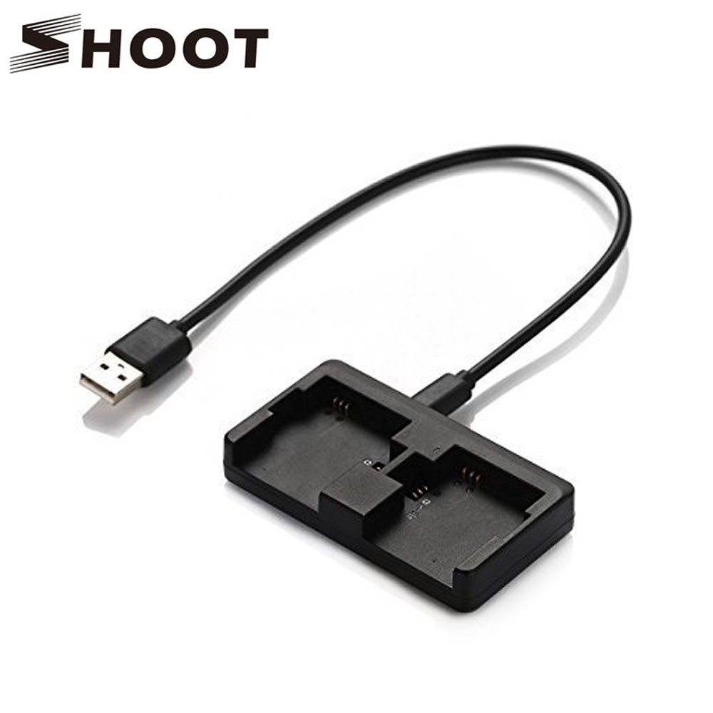 SHOOT Dual Port USB Battery Charger For Gopro Hero 4 3+ Hero4 Black Silver Action Cam for Go Pro Hero 3+ 4 Camera Accessory