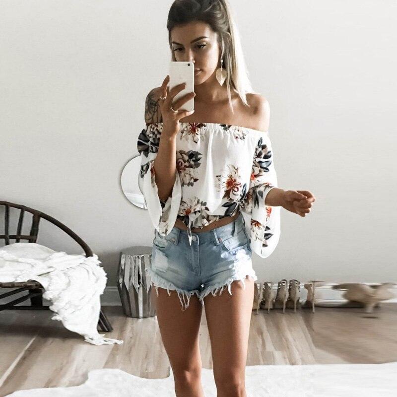 Tank-Tops Crop-Top Flare-Sleeve Women Clothing Flower-Print Streetwear Boho Elegant Off-Shoulder