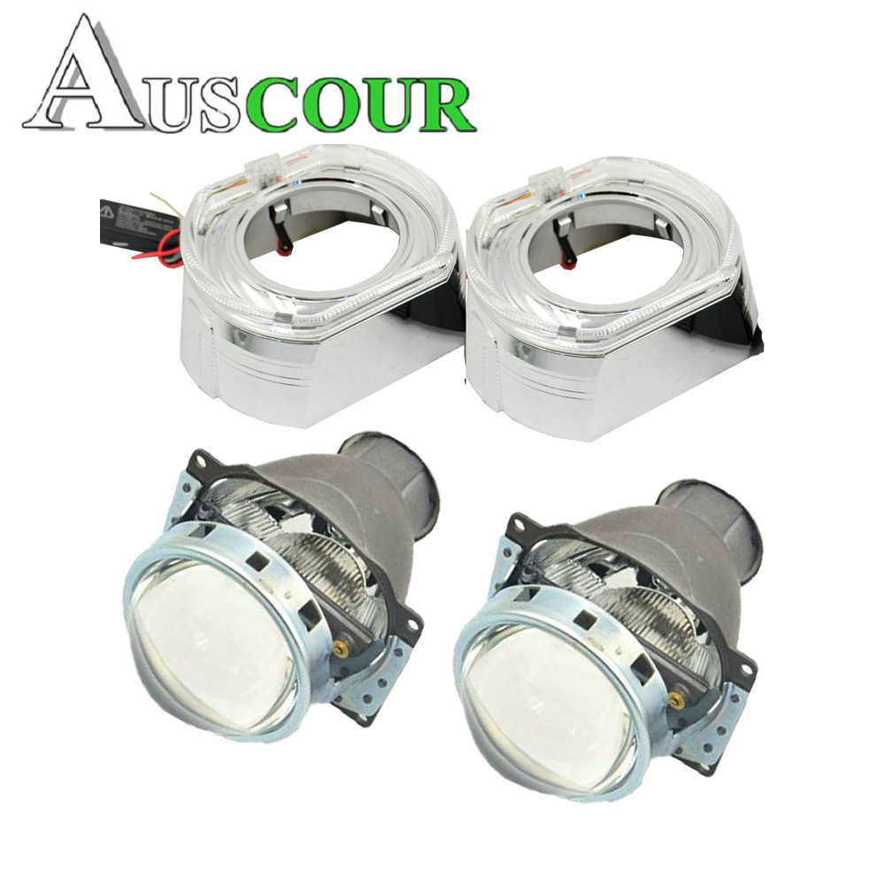 2pcs 3.0 inch H7Q5 Bi xenon Bixenon hid Projector lens metal holder D1S D2S D2H D3S for bmw LED day running angel eyes xenon 2 5inch bixenon projector lens with drl day running angel eyes angel eyes hid xenon kit h1 h4 h7 hid projector lens headlight