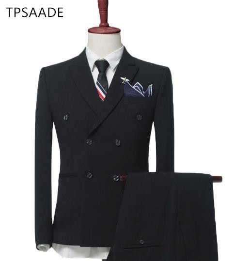 ファッションダブルブレストスリム男性のスーツ男性の結婚式新郎スーツ office professional スーツカスタムメイドジャケット + パンツ + ベスト