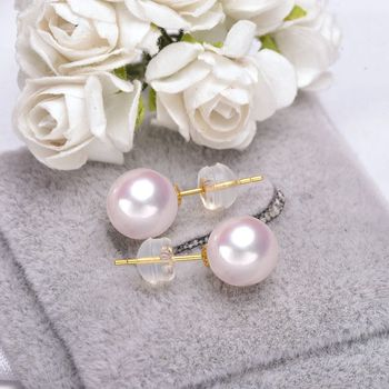 Gold Stud Earrings with 6-9 mm White Japanese Pearl 2