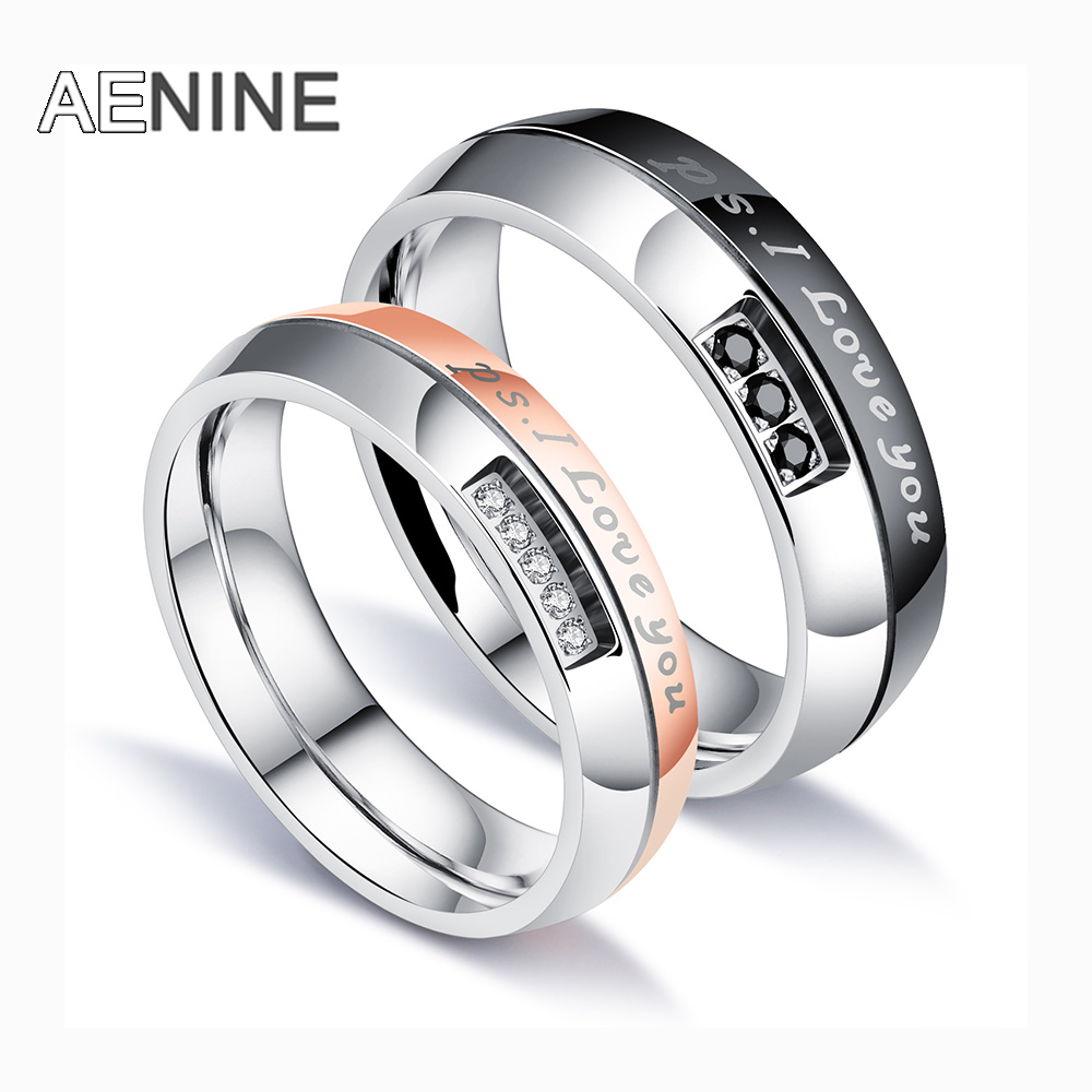 Romantic Bands: AENINE Romantic I LOVE YOU Wedding Rings For Lovers Cubic
