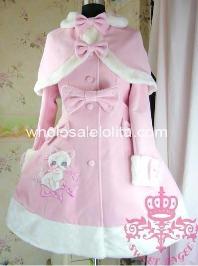 Милое шерстяное пальто в стиле Лолиты с длинными рукавами, вышивкой и бантом, пальто в готическом стиле, шерстяное пальто в стиле Лолиты, 4XL 5XL, 6XLCoat