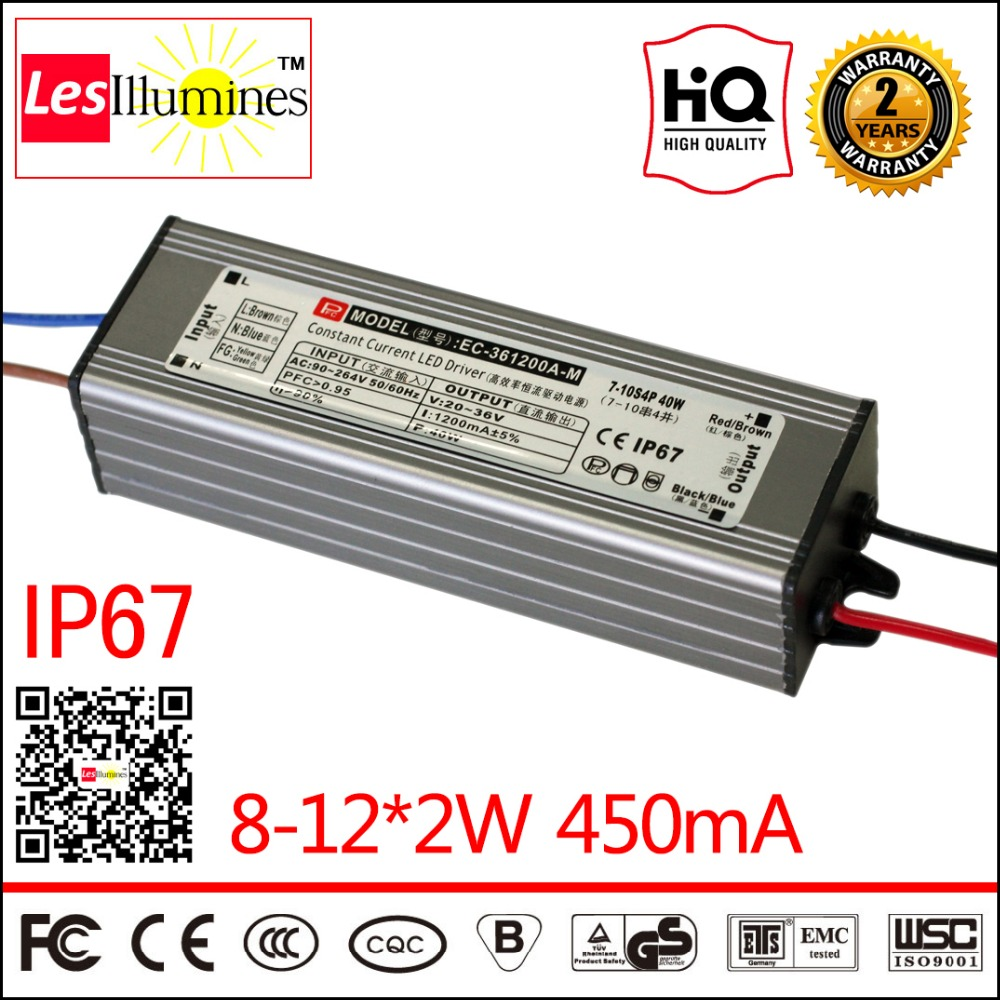 Waterproof LED Driver Transformer IP67 CE ROHS Approval AC DC Constant Current Output 24-42V 450mA 8-12*2W LED Power Supply 90w led driver dc40v 2 7a high power led driver for flood light street light ip65 constant current drive power supply