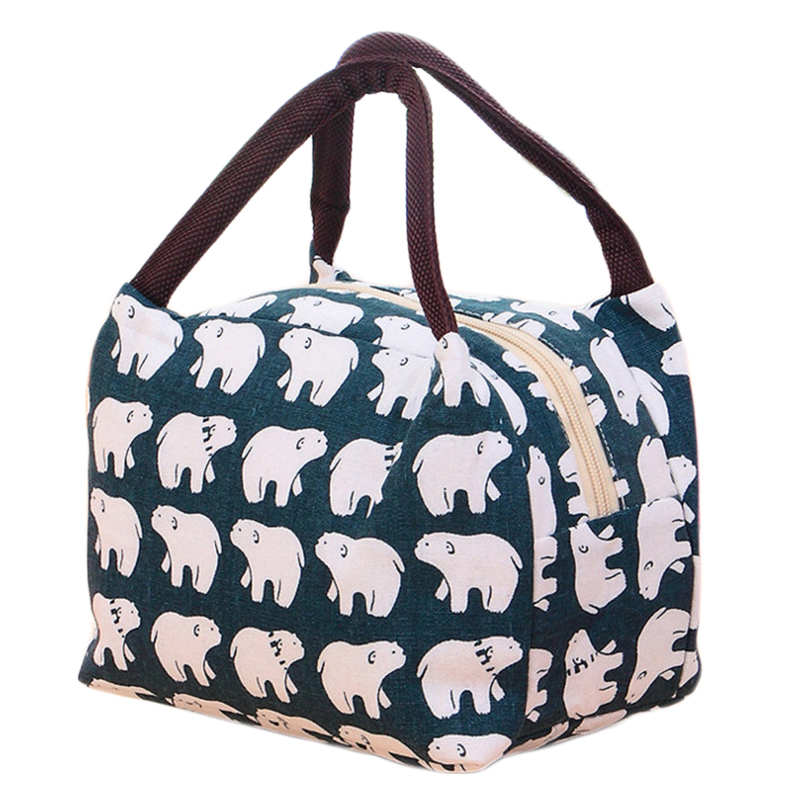 NIBESSER Animal Printed Lunch Bag Portable Cooler Thermo Bag Thermal Lunchbox Student Family Picnic Food Bag Kawaii Lunch Box animal food fruit picks forks lunch box accessory decor