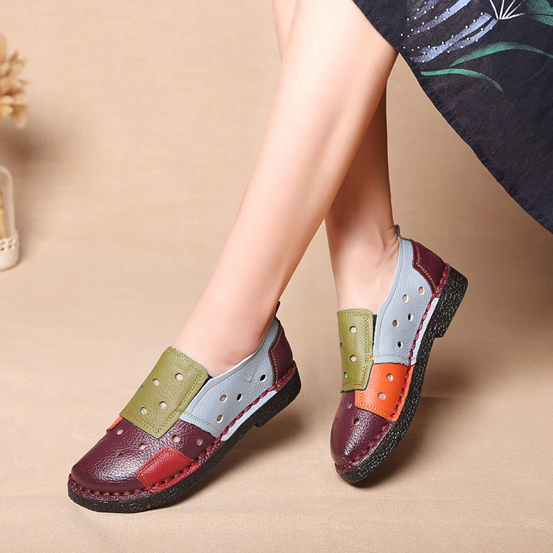 Women Flats Shoes Slip On Colorful Women Loafers Soft Moccasins Genuine Leather Flat Shoes Women Causal Shoes Plus Size 42