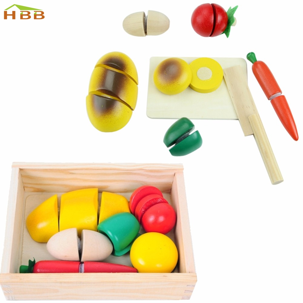 A96 Classy 1 set Wooden Fruit Vegetable Food Kids Role Play Children Kitchen Cutting Toy Set #046