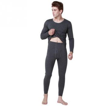 Men Winter Warm Thermal Underwear Suits Males Thicken Pullover Tops and Pants Set monochrome