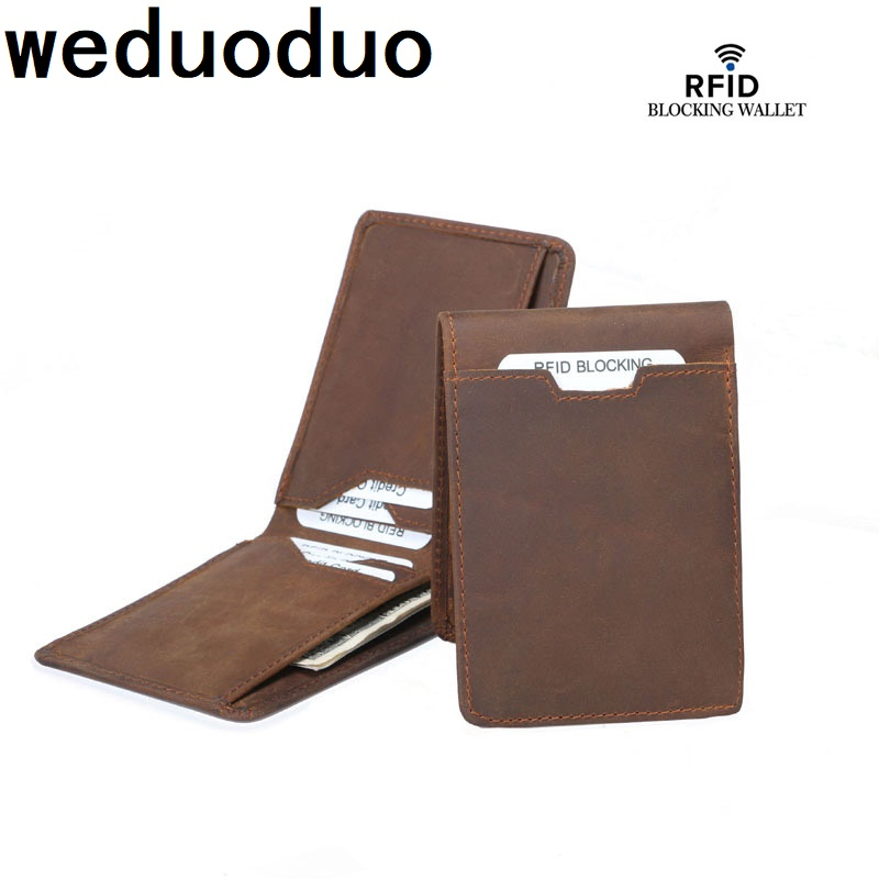 Wedudouo Real Leather Wallet Men Organizer Wallets Vintage Genuine Cowhide Short Mens Purse With card holder