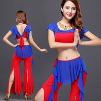 2016 Limited Women Cotton Woman Square Belly Dance Suits Top&pants&belt Bellydance Costume Professionals 3pcs Set T807