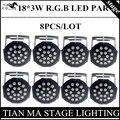 8pcs/ lot 18*3W LED Par Lights RGB PAR led DMX512 control disco lights professional dj equipment LED lamplamp