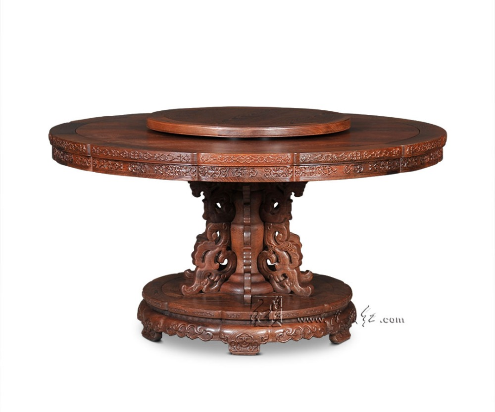 Rosewood Single-leg Dining Round Tables Solid Wooden Modern Hotel Furniture Living Room red wood new Classical fashion annatto