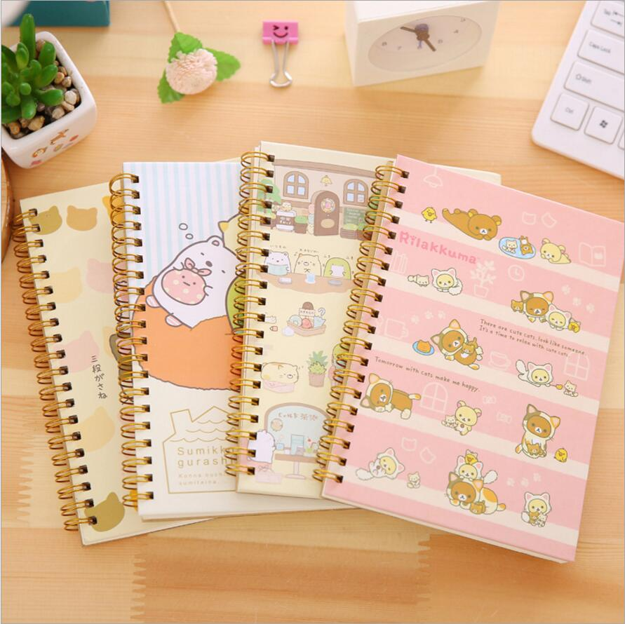 Cute Rilakkuma Notebook B6 Diary kawaii Animal Paper coil Notepad 60 sheets spiral hard copybook School Stationery Supplies 7060 2pcs japan kokuyo watanabe notepad spiral vertical notebook a5 60 sheets coil shorthand book wcn ctnb610