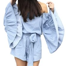 Women's Off Shoulder Flare Sleeve Jumpsuit Romper Summer Beach Holiday Elegant Ruffle Bow-Tie Short Playsuit недорого