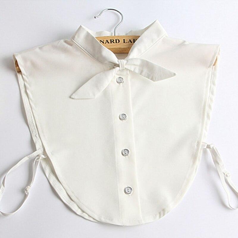 Stylish Matchable Women Pure Color Bow Detachable Lapel Choker Necklace Shirt Fake False White Collar New