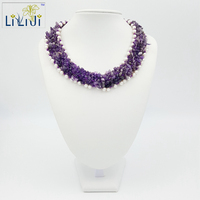 Natural Stone Amethyst Freshwater Pearl With Jade Toggle Clasp Handmade Knitting Necklace Fashion Women Jewelry