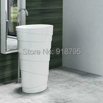 Corian Bathroom Pedestal Wash Basin Freestanding Solid Surface Matt Sink Cloakroom Vanity Wash Sink RS38192