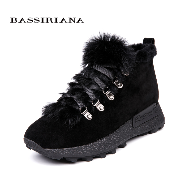 BASSIRIANA 2018 new genuine   suede     leather   ankle boots for women, winter season Size 35-40 Color Blue Black Free Shipping