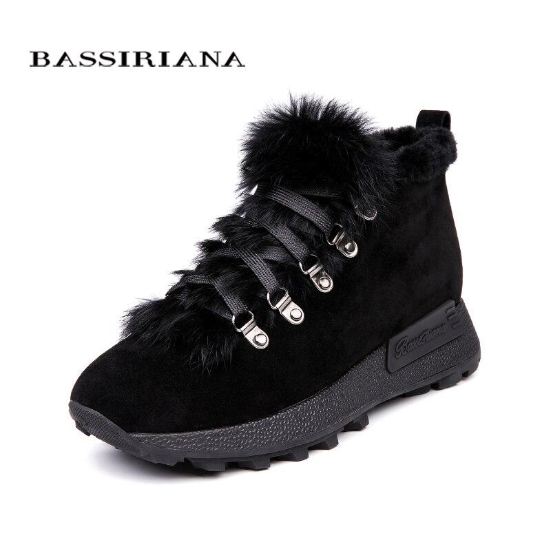 BASSIRIANA 2018 nouvelles bottines en cuir suédé véritable pour femme, saison d'hiver taille 35 40 couleur bleu noir livraison gratuite-in Chaussures plates femme from Chaussures    1