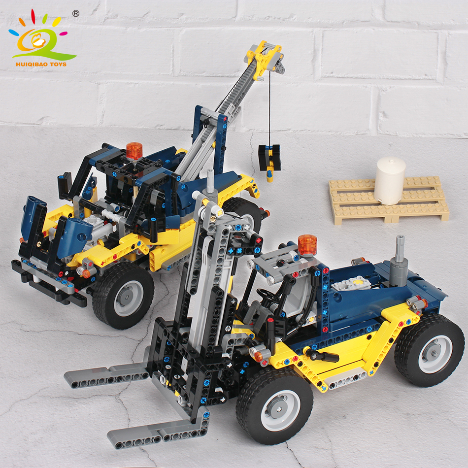 602pcs 2in1 Engineering Forklift Building Blocks compatible technic city Construction Truck Crane Bricks children Toys