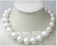 Wholesale Free Shipping Exquisite 18inch Huge AAAA 14mm AKoya White Shell Pearl Necklace