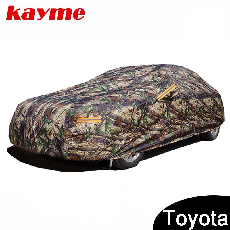 Kayme Camouflage imperméable couvertures de voiture de coton en plein air protection solaire pour toyota corolla avensis rav4 auris yaris camry prius