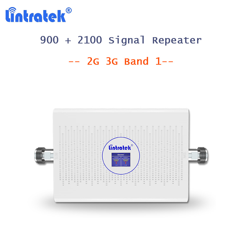 NEW Lintratek GSM Repeater Cellular Booster 3G UMTS 2100Mhz B1 + GSM 900 Voice Cellphone Signal Booster 3G Network 70dB AGC S5