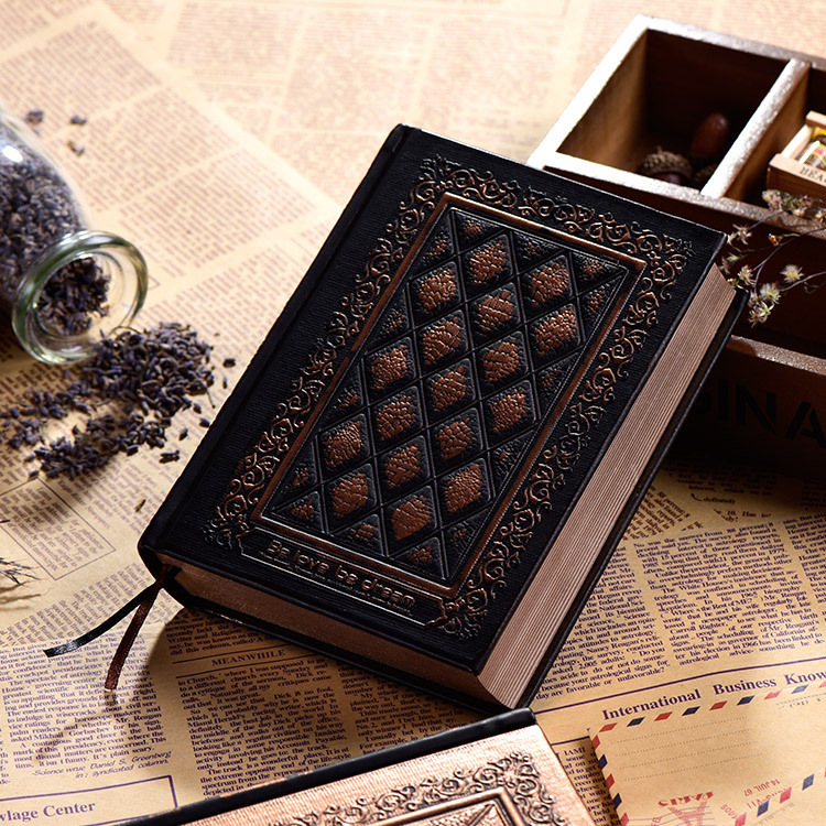 416Pages Thickness Vintage Embossed Plaid Retro Notebooks European Relief Antique Gold Hard Cover Dairy Notebook