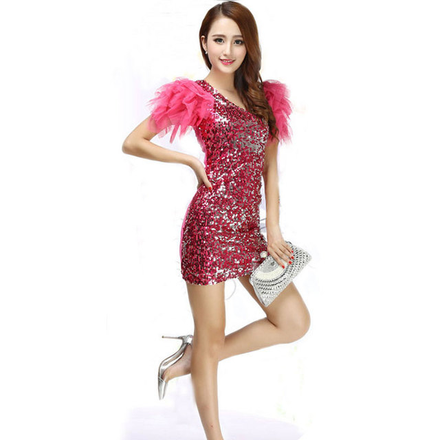 5d2cec8b9a17 Sexy Singer Women s Women Lady Shine Sequin Paillette Dress Jazz ...