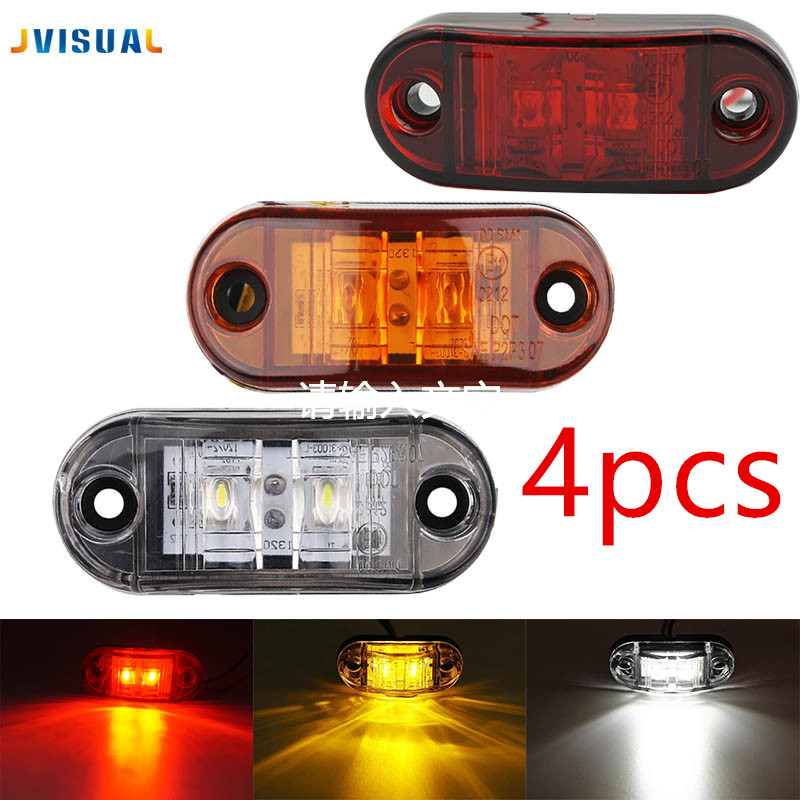 4pcs LED Side Marker Blinker Lights Waterproof ABS Piranha Brake Signal Lamp 12/24V For Car Truck Trailers Lorry image