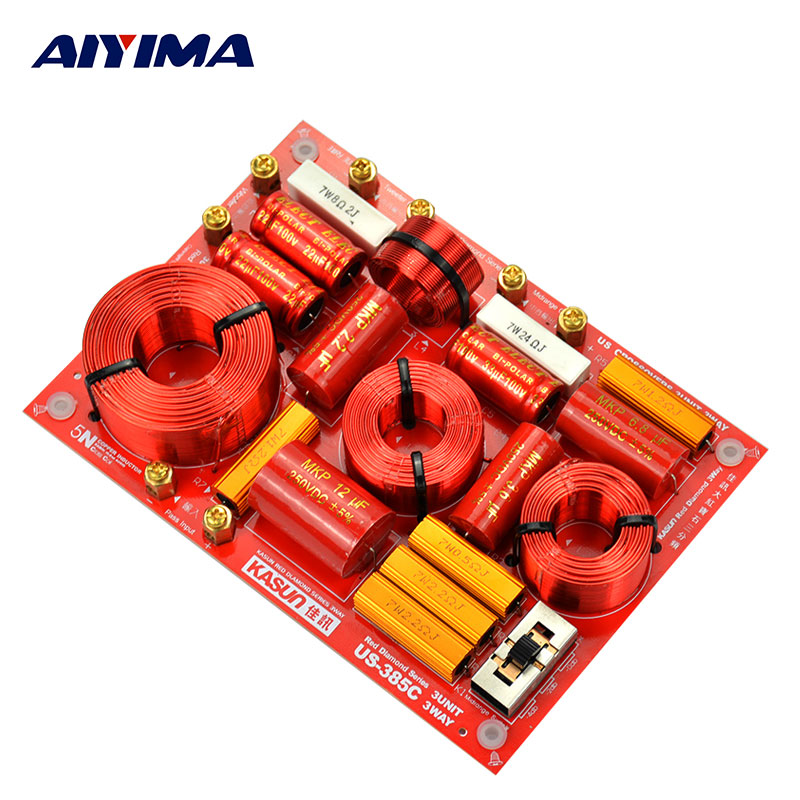AIYIMA 1Pcs US-385C 3 Way HiFi Speaker Frequency Divider Crossover Filters For KASUN