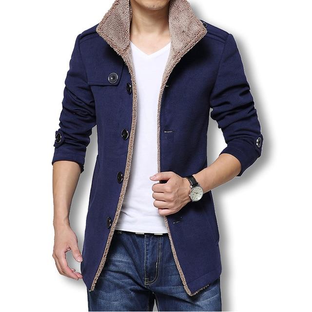 f6af51abaa796 2018 Uomini Lungo Cappotto di Lana Invernale Uomo Giacche E Cappotti Slim  Fit Uomini Giacca A