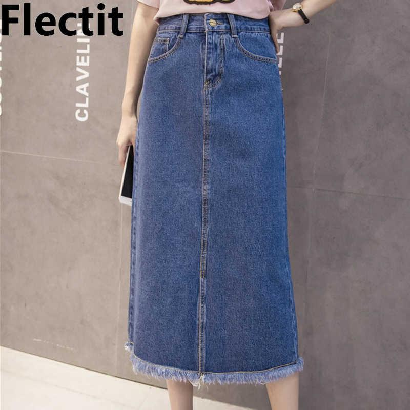 5dd588e6b0d89 Flectit Front Slit Long Denim Skirt Women French Chic Frayed Hem ...