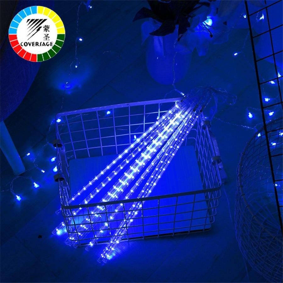 Coversage Meteor Dush Tube Shi 30CM 50CM 5Pcs Pema e Krishtlindjes Luces dekorative Perde Dritat në natyrë Xmas Led String Light